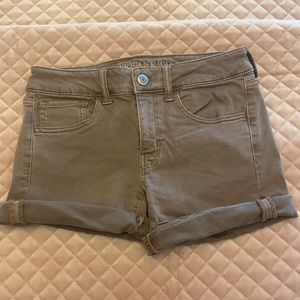 AE Pink/Brown Stretch Jean Shorts